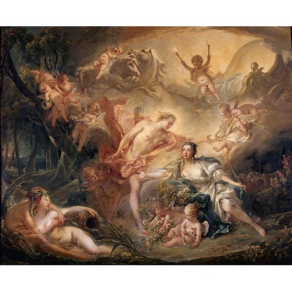 フランソワ・ブーシェ《羊飼いのイセに神の姿をみせるアポロン》