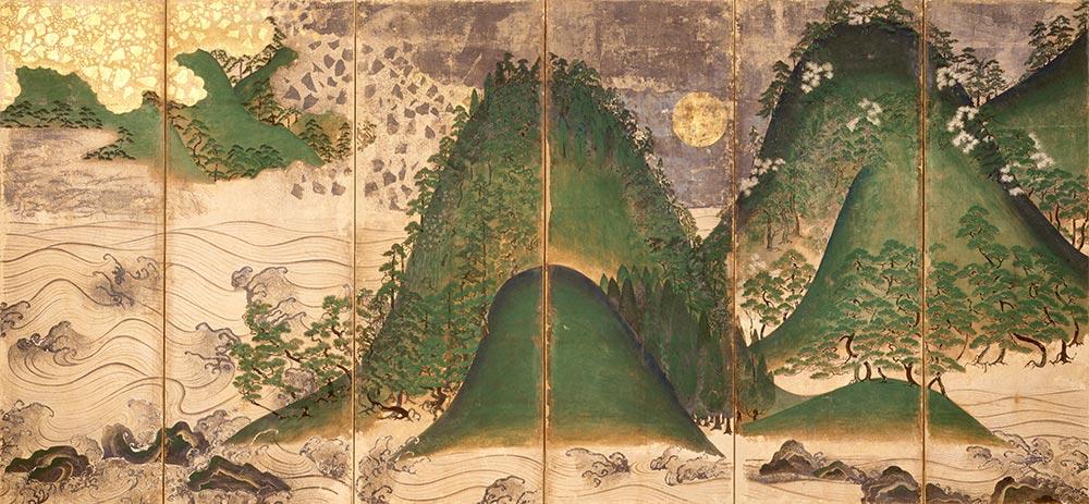 日月山水図屏風