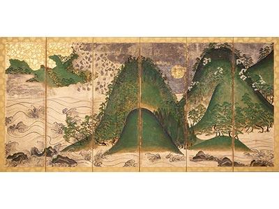 国宝 日月山水図屏風(右隻) 大阪・金剛寺