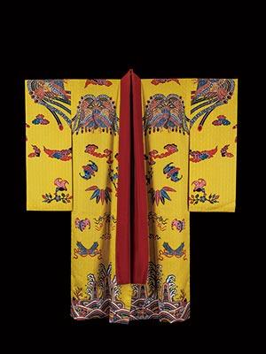 黄色地鳳凰蝙蝠宝尽青海波立波文様 紅型袷衣裳