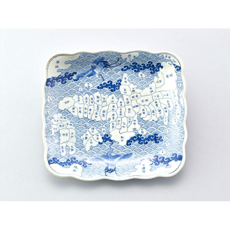 染付日本地図角皿