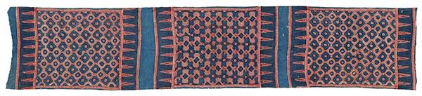藍地メダイヨン繋ぎ幾何学形花文様更紗