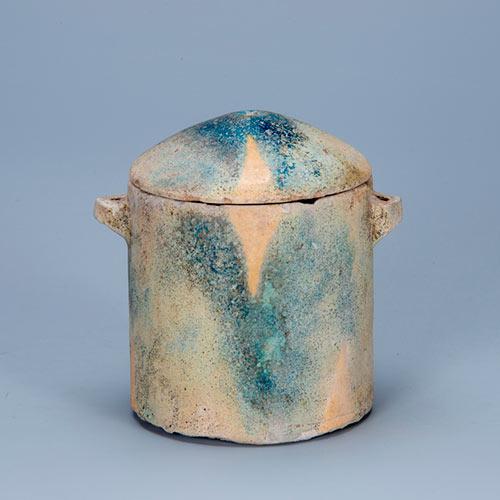 施釉蓋付円筒形容器