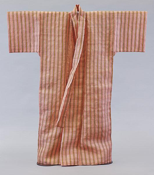 芭蕉桃色地経縞絽織衣